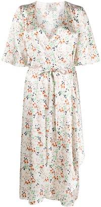 L'Autre Chose Floral-Print Silk Wrap Dress