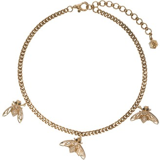 Shay 18kt yellow gold Triple Bee diamond baby link necklace