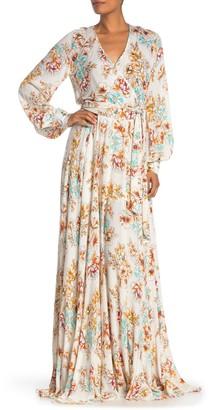 Meghan La Lilypad Floral Print Surplice Maxi Dress