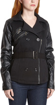 Black Fleece Faux Leather Accent Belted Jacket