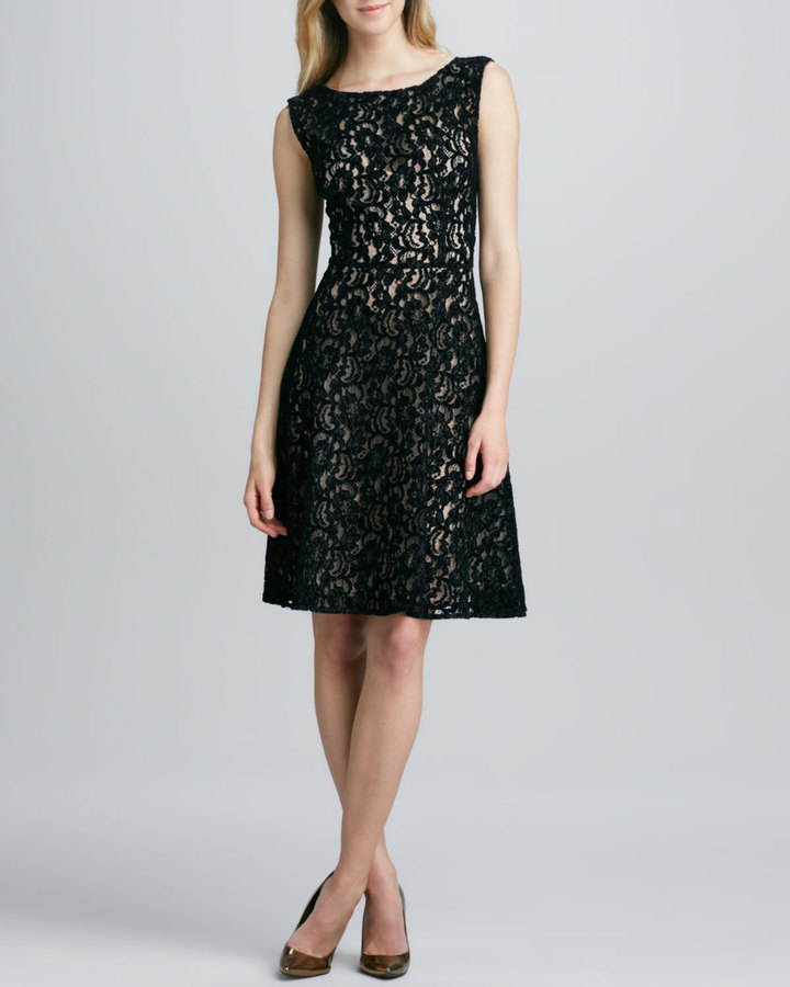 Tracy Reese Sleeveless Lace-Overlay Flared Dress
