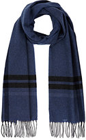Barneys New York MEN'S BORDER-STRIPED CASHMERE SCARF-BLUE, BLACK, WHITE