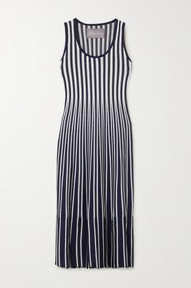 Lela Rose Tasseled Striped Crochet-knit Midi Dress - Navy
