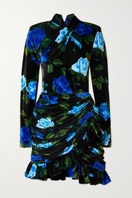 Richard Quinn Draped Ruffled Floral-print Velvet Mini Dress - Black