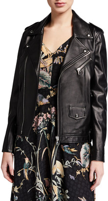 RED Valentino Leather Pleated Back Moto Jacket