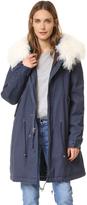 Mr & Mrs Italy Navy Coat with Fur Trim
