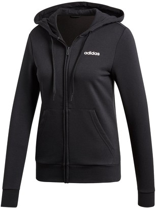 adidas Essentials Plain Full Zip Hoodie - Black