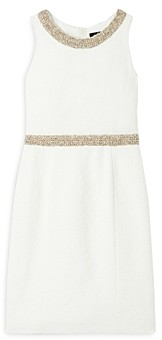 Paule Ka Textured Crochet Trim Sheath Dress