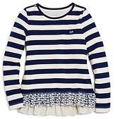 Vineyard Vines Girls' Striped Top with Ruffled Whale-Print Hem - Big Kid