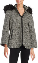 Betsey Johnson Faux Fur-Trimmed Chevron Coat