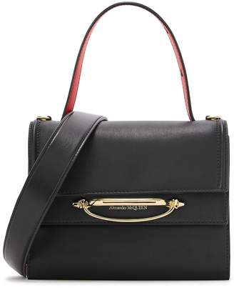 Alexander McQueen The Story Small Black Leather Top Handle Bag
