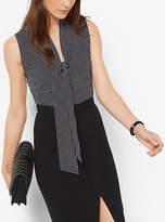 Michael Kors Printed Georgette Tie-Neck Top