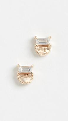 Jennie Kwon Designs 14k Baguette Half Moon Studs