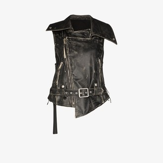 Unravel Project Distressed Leather Biker Gilet