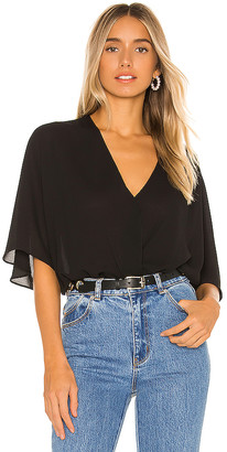 Krisa Smocked Waist Surplice Top