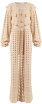 RYAN ROCHE Open-front cashmere crochet-knit long cardigan
