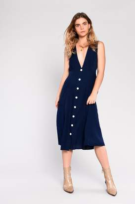 Glamorous Womens **Navy Button Down Midi Dress By Navy Blue