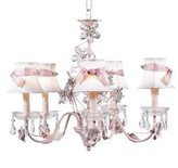 The Well Appointed House Pink Five Arm Crystal Flower Chandelier with Shades