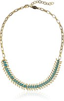 A.V. Max Fishbone Gold and Turquoise Cord Necklace, 16""