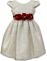 Jayne Copeland Rose-Detail Striped Special Occasion Dress, Toddler & Little Girls (2T-6X)