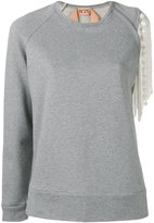 No.21 fringed sleeve detail sweatshirt