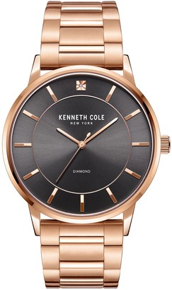 Kenneth Cole NY Men's Rosetone Stainless Diamond Accent Watch