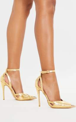 PrettyLittleThing Gold Cut Out Heel Metal Toe Court Shoe