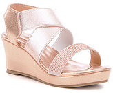 Kenneth Cole Reaction Girls' Reed Along Metallic Stone Embellished Wedge Sandals