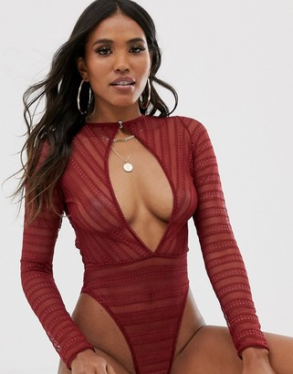 Asos Design DESIGN lace body with cut out detail-Red