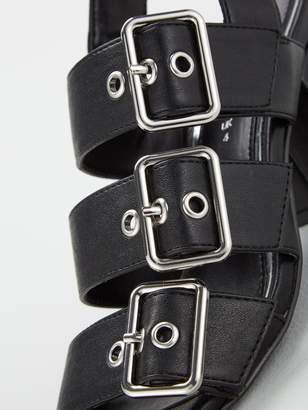 Very Galaxie Mid Block Heel Buckle Sandals - Black