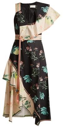 Peter Pilotto One-shoulder Floral-print Cotton Dress - Womens - Multi