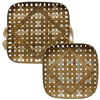 Stylecraft Home Collection StyleCraft Woven Strippings Farmhouse Style Metal and Wood Strip Basket Trays
