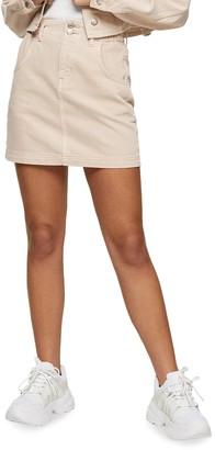 Topshop Paperbag Denim Miniskirt