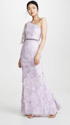 Marchesa One Shoulder Embroidered Tulle Mermaid Gown
