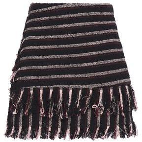 3.1 Phillip Lim Wrap-effect Fringe-trimmed Striped Cotton-blend Boucle-tweed Shorts