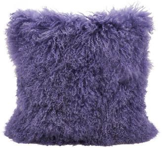 "Saro Lifestyle Mongolian Lamb Fur Poly Filled Throw Pillow, Ultra Violet, 20""x20"""