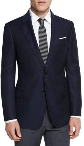 Armani Collezioni G-Line New Textured Two-Button Sport Jacket, Navy