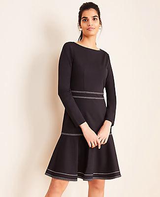 Ann Taylor Petite Stitched Ponte Flare Dress