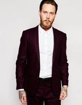 Asos Slim Wool Rich Suit Jacket In Purple