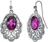 1928 Filigree Oval Scallop Drop Earrings