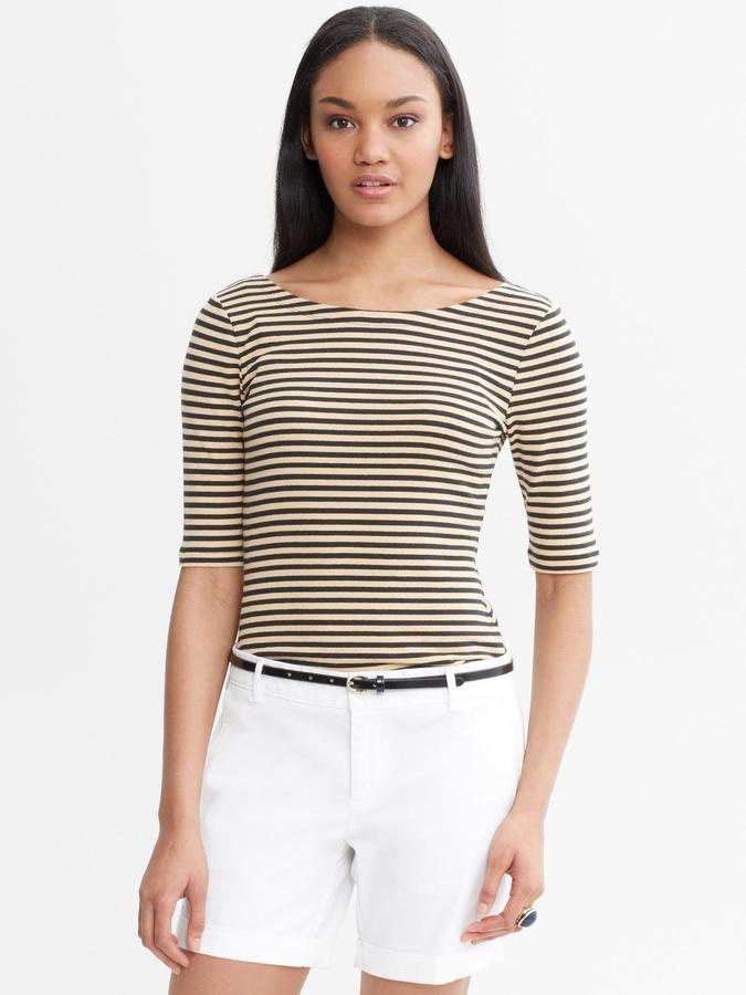 Banana Republic Striped Elbow-Sleeve Tee