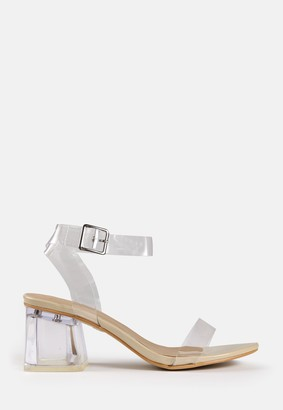 Missguided Nude Clear Low Block Heels