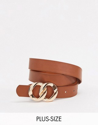 Glamorous Curve belt with double molten circle buckle in tan