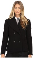 Nicole Miller Double Breasted Peacoat with Shouler Detailing