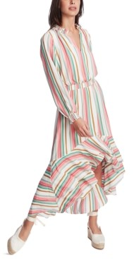 1 STATE Striped High-Low Dress