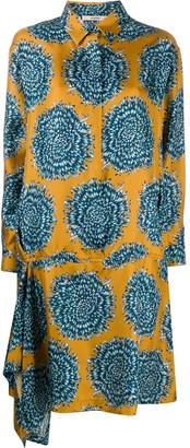 Odeeh Drop Waist Printed Shirt Dress