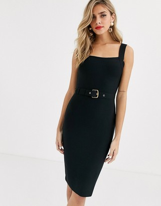 Lipsy belted cami bandage dress in black