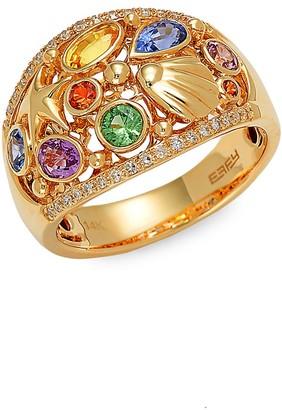 Effy 14K Yellow Gold, Multi-Colored Sapphire 0.14 TCW White Diamond Ring
