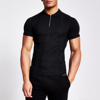 River Island Black half zip muscle fit knitted polo top