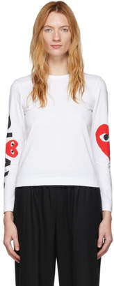 Comme des Garcons White Big Heart Long Sleeve T-Shirt